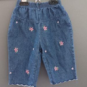 Adorable vintage looking embroidered denim jeans